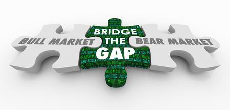Bull Vs Bear Stock Market Bridge the Gap Puzzle Pieces 3d Illustration
