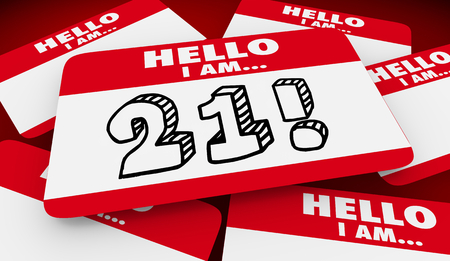 21 Twenty One Years Old Hello I Am Name Tag 3d Illustration