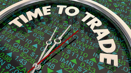 Time to Trade Stock Market Tickers Investment Clock 3d Illustration