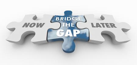 Now Vs Later Bridge the Gap Puzzle Pieces 3d Illustration
