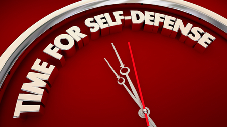 Time for Self-Defense Training Clock Words 3d Illustration Imagens