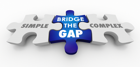Simple Vs Complex Bridge the Gap Puzzle Pieces 3d Illustration 版權商用圖片 - 117445976