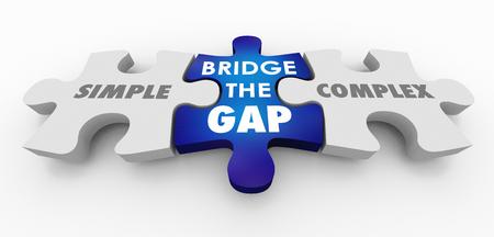 Simple Vs Complex Bridge the Gap Puzzle Pieces 3d Illustration