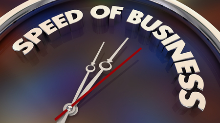 Speed of Business Fast Action Company Movement Clock 3d Illustration Stock Photo