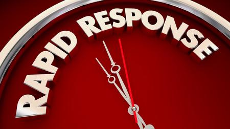 Respuesta rápida Acción rápida Urgente ahora Reloj Ilustración 3d Foto de archivo