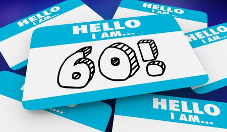 60 Sixty Years Old Hello I Am Name Tag 3d Illustration 版權商用圖片
