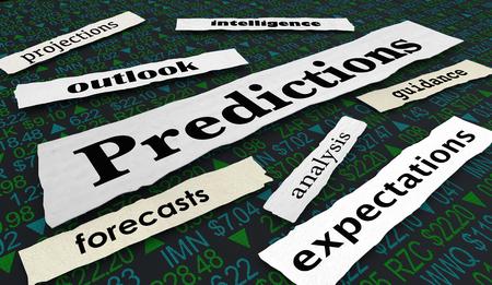 Predictions Outlook Forecast Stock Market 3d Illustration