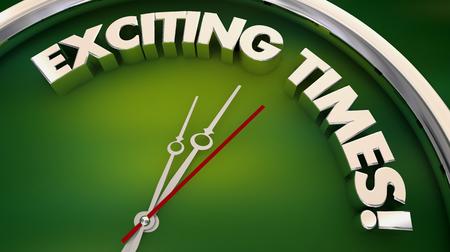 Heures passionnantes Fun Excitation Clock 3d Illustration