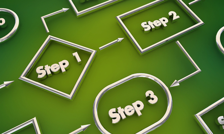 Step 1 2 3 Process Map Jobs Tasks Workflow 3d Illustration Stock fotó - 117445990