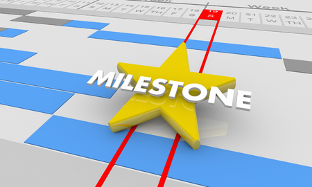 Milestone Important Achievement Gantt Chart 3d Illustration 스톡 콘텐츠