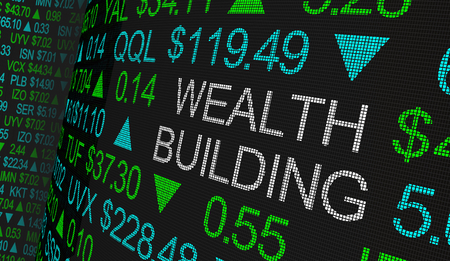 Wealth Building Stock Market Scrolling Prices Ticker 3d Illustration Imagens