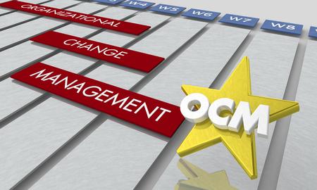 OCM Organizational Change Management Timeline Gantt Chart 3d Illustration Standard-Bild - 117587684