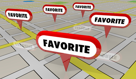 Favorite Best Rated Reviewed Spots Map Pins 3d Illustration