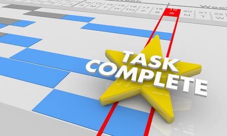 Task Complete Final Project Step Done Gantt Chart 3d Illustration Stock Photo