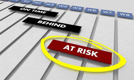 At Risk Projects Tasks Schedule Timeline Gantt Chart 3d Illustration Stok Fotoğraf - 117587730