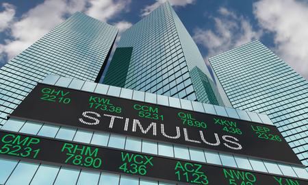 Stimulus Wall Street Skyline Stock Market 3d Illustration 스톡 콘텐츠