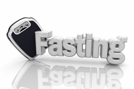 Fasting Diet Scale Eating Less Food Words 3d Illustration