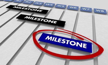 Milestones Project Key Achievements Timeline Gantt Chart 3d Illustration