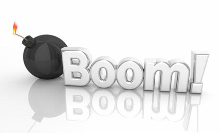Boom Bomb Explosion Danger Words 3d Illustration