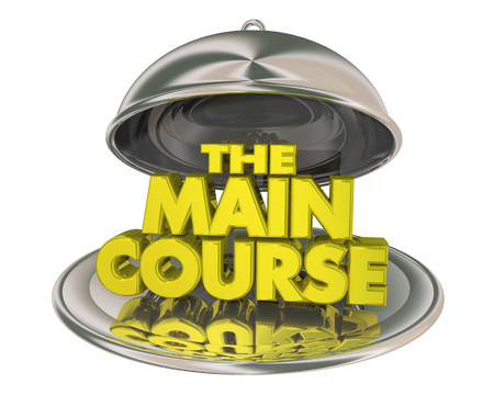 The Main Course Meal Dinner Platter Plate Words 3d Illustration