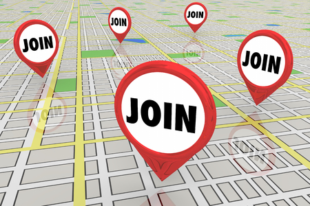 Join Participate Group Meetup Map Pins 3d Illustration