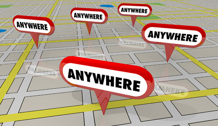 Anywhere Many Multiple Locations Map Pins 3d Illustration