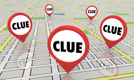 Clues Mysteries Find Answers Map Pins 3d Illustration Stock Photo