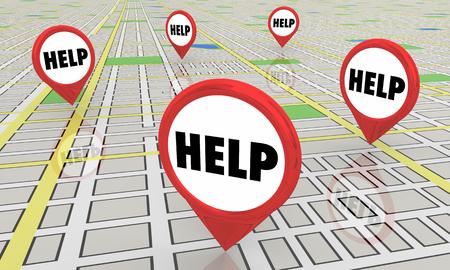 Help Support Assistance Centers Map Pins 3d Illustration Reklamní fotografie