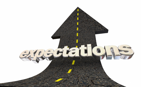 Expectations Rising High Hopes Road Arrow Word 3d Illustration