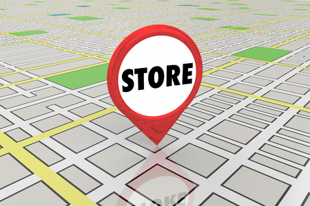 Store Shop Retail Location Map Pin 3d Illustration Stockfoto