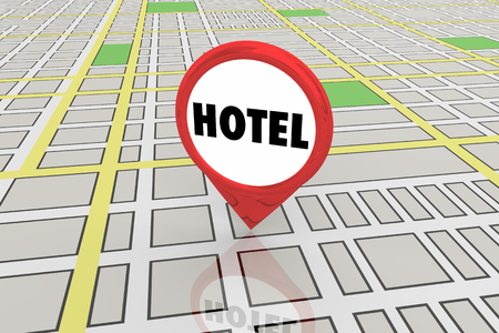 Hotel Travel Tourism Location Map Pin 3d Illustration