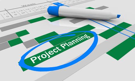 Project Planning Organized Stages Gantt Chart 3d Illustration Standard-Bild - 117999356