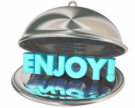 Enjoy Dinner Meal Platter Word 3d Illustration Archivio Fotografico