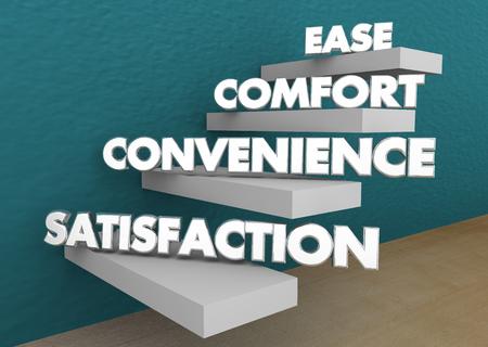 Ease Comfort Convenience Satisfaction Steps Levels 3d Illustration