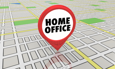 Home Office Main Base Work at Your House Map Pin Location 3d Illustration