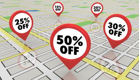 50 Percent Off Sale Discount Map Pins 3d Illustration Stock Photo