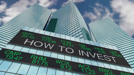 How to Invest Make Money Stock Ticker Buildings 3d Illustration Reklamní fotografie - 118571153