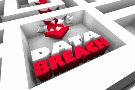 Data Breach Security Hack Breaking Through 3d Illustration