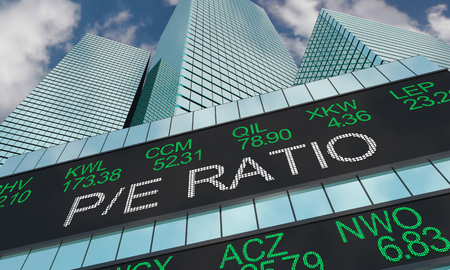 PE Ratio Price to Earnings Stock Ticker Buildings 3d Illustration