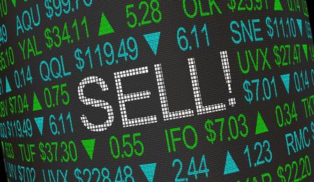 Sell Order Stock Market Ticker 3d Illustration Фото со стока - 118571171