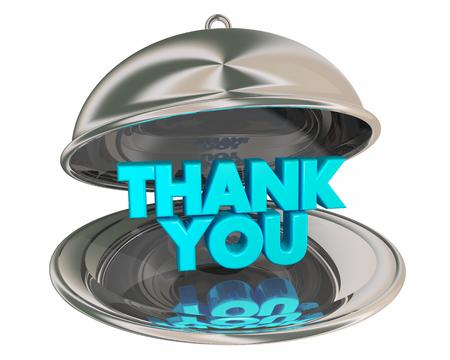 Thank You Appreciation Gratitude Recognition Dinner PLatter 3d Illustration Banco de Imagens