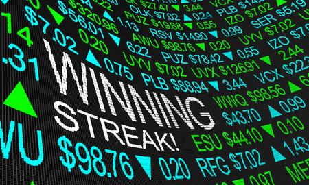 Winning Streak Stock Market Earnings Growth Rising 3d Illustration