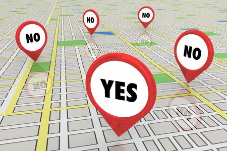 Yes Vs No Success Map Pins 3d Illustration