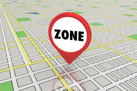 Zone District Area Commercial Residential Map Pin 3d Illustration Banque d'images - 118571193