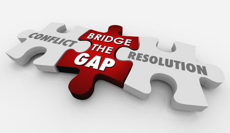 Conflict Resolution Bridge Gap Puzzle 3d Illustration