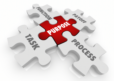 Purpose Process Function Task Payoff Puzzle Pieces 3d Illustration
