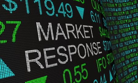 Market Response Stock Ticker Wall Activity 3d Illustration