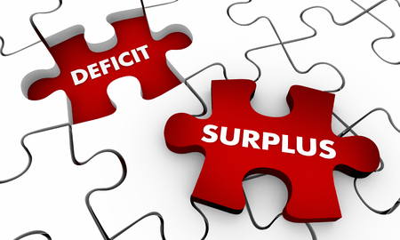 Surplus Vs Deficit Puzzle Pieces 3d Illustration Reklamní fotografie