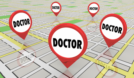 Doctor Physician Medical Help Advice Map Pins 3d Illustration Stock Photo