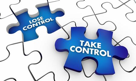 Take Vs Lose Control Puzzle Pieces 3d Illustration Stock Photo